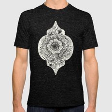 Messy Boho Floral In Cha… Mens Fitted Tee Tri-Black SMALL