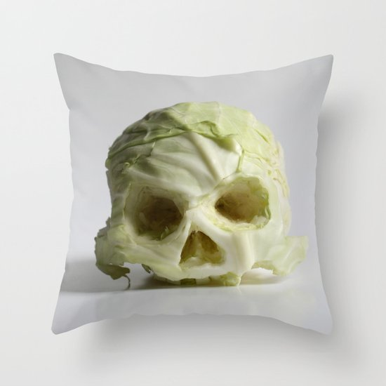 360. Skull of Cabbage Throw Pillow