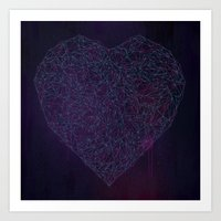 Double Heart Weave Art Print