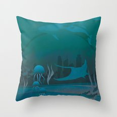 THE DOME - Fantasy | Animals | underwater | Ocean | Sci-fi | Whales | Ocean  Throw Pillow