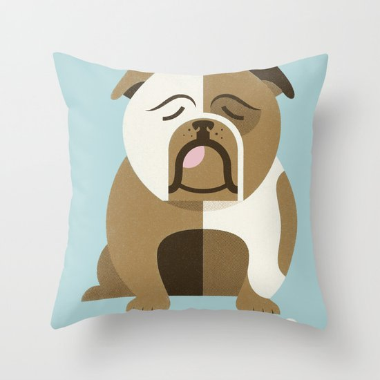 Bulldog - Blue Variant Throw Pillow