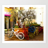 Colorful Bicycles Art Print