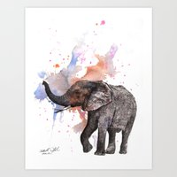 Dancing Elephant Paintin… Art Print