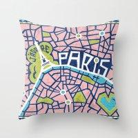 J'adore Paris Throw Pillow