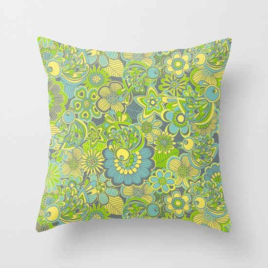 Welcome birds to...green Throw Pillow