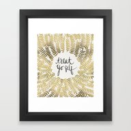 Framed Art Print featuring Treat Yo Self – Gold by Cat Coquillette