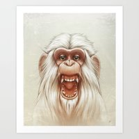 Art Print featuring The White Angry Monkey by Dr. Lukas Brezak