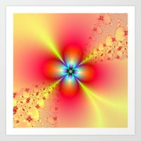 Floral Sprays In Red And… Art Print