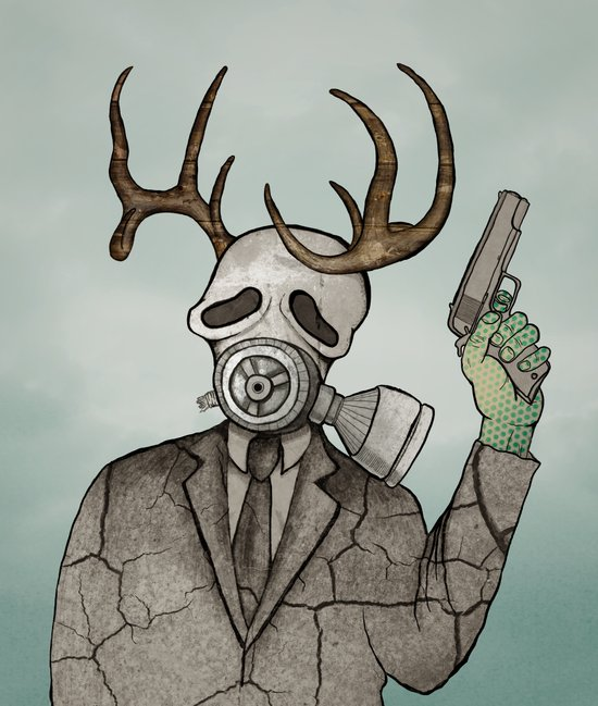 Collage Love: Apocalyptic Deer Man Canvas Print
