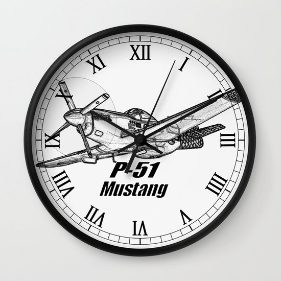 P 51 Mustang line drawing Wall Clock by JT Digital Art ...