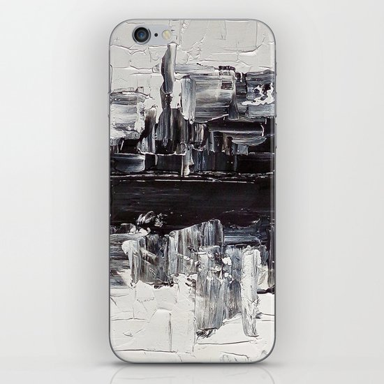 Flatline - black & white abstract painting iPhone & iPod Skin