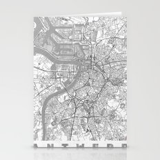 Antwerp Map Line Stationery Cards