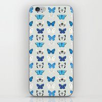 Lepitoptery No. 2 - Blue and White Butterflies and Moths iPhone & iPod Skin