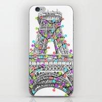 Paris Eiffel Tower Holiday Lights Multi iPhone & iPod Skin