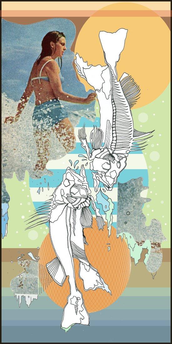 skeleton surf Art Print