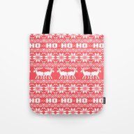 Red Ho Ho Ho Moose Ugly … Tote Bag
