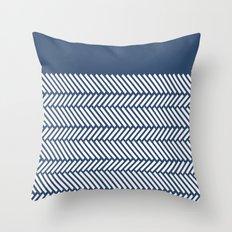 Herringbone Boarder Navy Throw Pillow