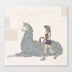 A Girl and a Llama Canvas Print