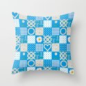 Daisy Chain Hearts and Circles on Turquoise Blue Throw Pillow