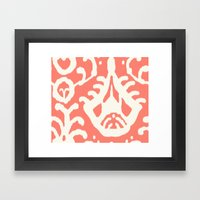 Ikat in coral  Framed Art Print