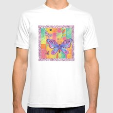Indigo Butterfly White SMALL Mens Fitted Tee
