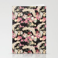 Japanese garden with cranes Stationery Cards
