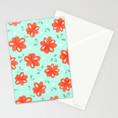 Cheerful Red Flowers Pattern Stationery Cards