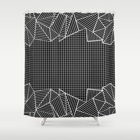 Grids And Stripes Black Shower Curtain