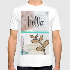 Hello SMALL White Mens Fitted Tee