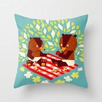 Picknick Bears Throw Pillow