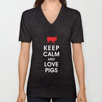 Keep Calm And Love Pigs Unisex V-Neck