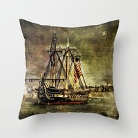 Tall ship USS Constitution Throw Pillow