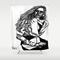 B&W Fashion Illustration - White Shirt Shower Curtain
