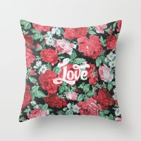 Red Pink Roses Chic Love… Throw Pillow