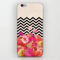 iPhone & iPod Skin featuring Chevron Flora II by Bianca Green