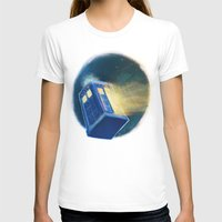 The TARDIS Womens Fitted Tee White SMALL