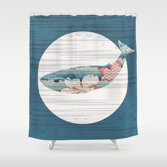 Whales and Polka Dots Shower Curtain