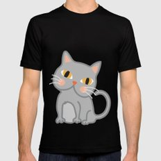 Cat Mens Fitted Tee SMALL Black