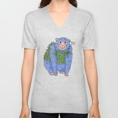 Peachtree The Chimp in Blue Unisex V-Neck