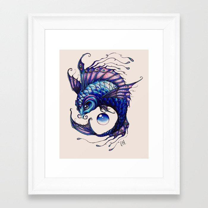 Purple koi fish drawing framed art print by lyndseylou for Koi fish art print