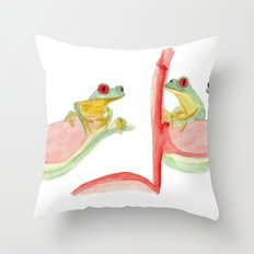 three little frogs Throw Pillow