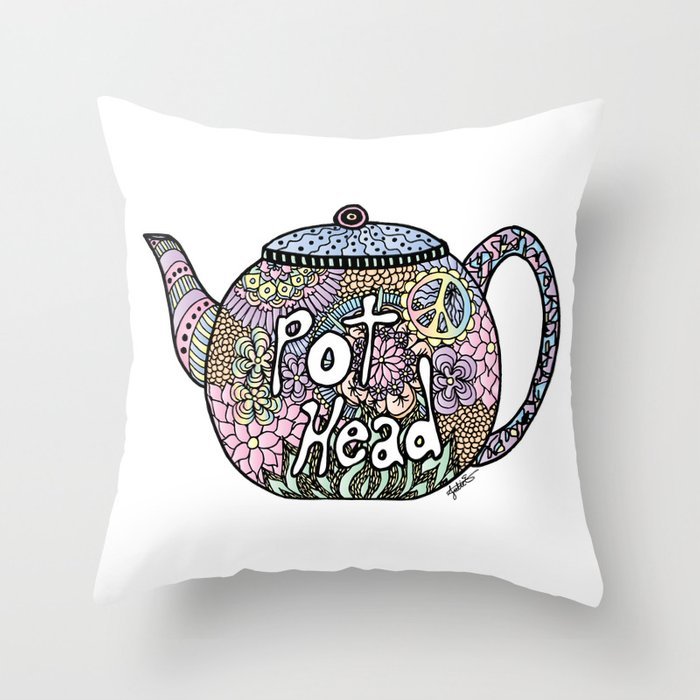 tea pot head cute pastel throw pillow