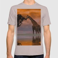 Giraffe At Sunset Mens Fitted Tee Cinder SMALL