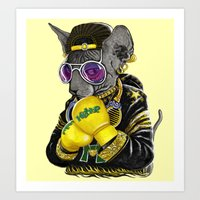 Boxing Cat 3 Art Print