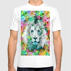 BLOOMING LION Mens Fitted Tee White SMALL