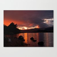 Loch Rannoch Blazing Sunset Canvas Print