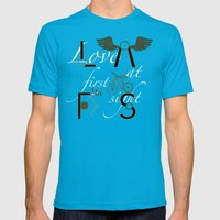 Love at First Sight and Bicycle Mens Fitted Tee Teal SMALL