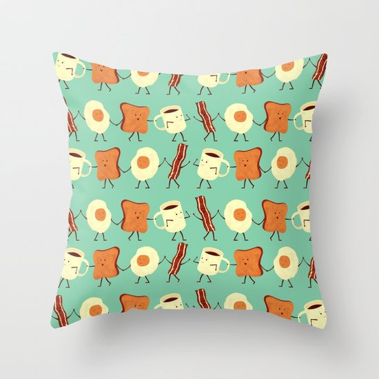 Let's All Go And Have Breakfast Throw Pillow