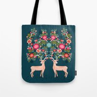Deer With Flowers By And… Tote Bag