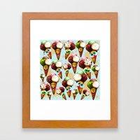 Ice Cream Cones Cartoon Pattern Framed Art Print